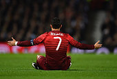 Cristiano Ronaldo of Portugal reacts during the International Friendly between Argentina and Portugal at Old Trafford on November 18 2014 in...