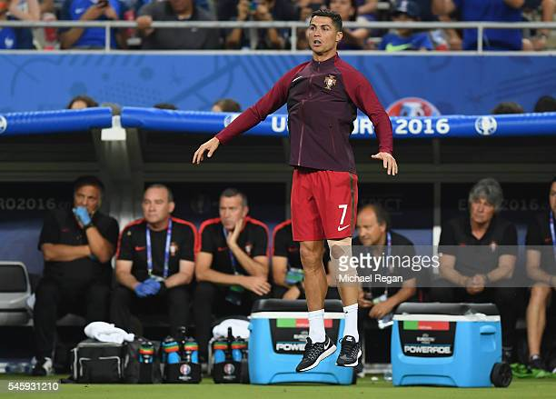 Cristiano Ronaldo of Portugal reacts during the UEFA EURO 2016 Final match between Portugal and France at Stade de France on July 10 2016 in Paris...