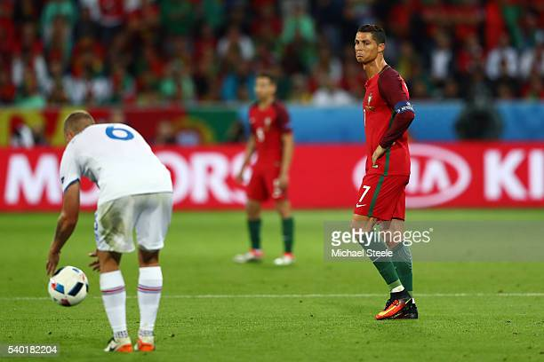 Cristiano Ronaldo of Portugal reacts during the UEFA EURO 2016 Group F match between Portugal and Iceland at Stade GeoffroyGuichard on June 14 2016...