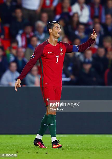 Cristiano Ronaldo of Portugal reacts during the UEFA EURO 2016 Group F match between Portugal and Austria at Parc des Princes on June 18 2016 in...