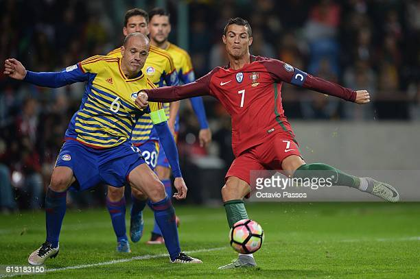 Cristiano Ronaldo of Portugal scores a goal during the 2018 FIFA World Cup Qualifiers Group B first leg match between Portugal and Andorra at the...