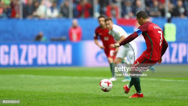 Cristiano Ronaldo of Portugal scores his sides first goal from the penalty spot during the FIFA Confederations Cup Russia 2017 Group A match between...