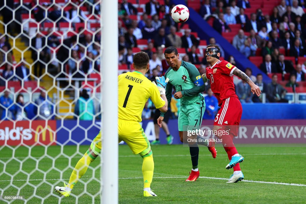 Cristiano Ronaldo of Portugal scores the opening goal during the FIFA Confederations Cup Russia 2017 Group A match between Russia and Portugal at Spartak Stadium on June 21, 2017 in Moscow, Russia.