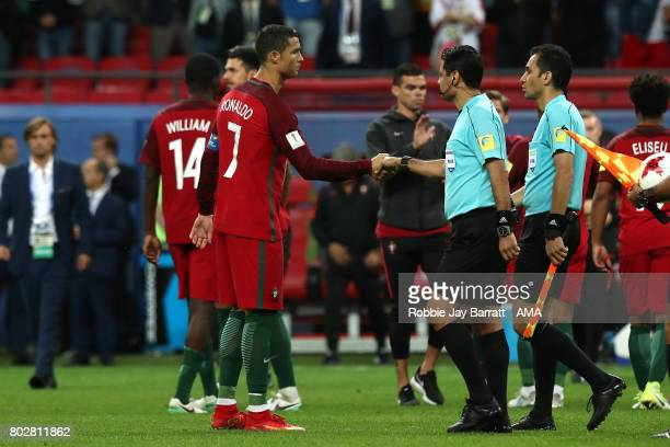 Cristiano Ronaldo of Portugal shakes hands with Referee Alireza Faghani after a penalty shootout during the FIFA Confederations Cup Russia 2017...