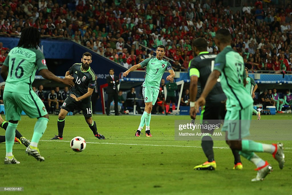 Cristiano Ronaldo of Portugal shoots prior to Nani scoring a goal to make the score 20 during the UEFA Euro 2016 Semi Final match between Portugal...