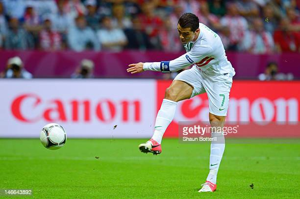 Cristiano Ronaldo of Portugal shoots towards goal during the UEFA EURO 2012 quarter final match between Czech Republic and Portugal at The National...