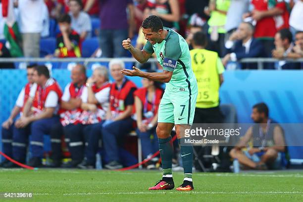 Cristiano Ronaldo of Portugal shows his dejection after Hungary's third goal during the UEFA EURO 2016 Group F match between Hungary and Portugal at...