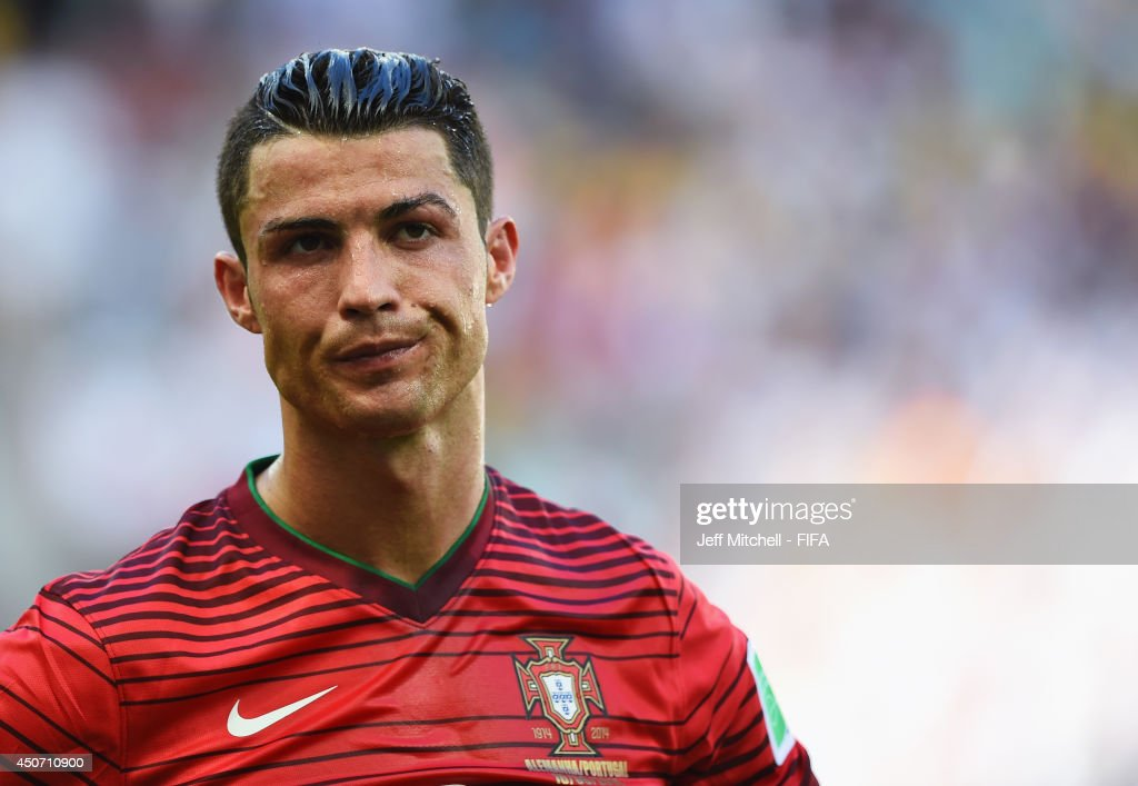 Cristiano Ronaldo of Portugal shows his dejection during the 2014 FIFA World Cup Brazil Group G match between Germany and Portugal at Arena Fonte Nova on June 16, 2014 in Salvador, Brazil.
