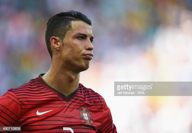 Cristiano Ronaldo of Portugal shows his dejection during the 2014 FIFA World Cup Brazil Group G match between Germany and Portugal at Arena Fonte...