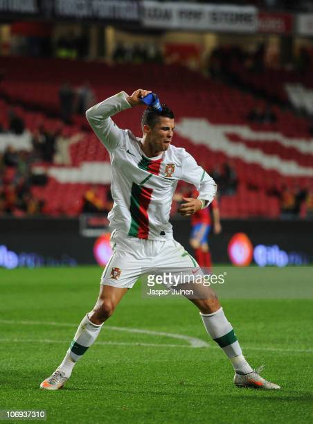 Cristiano Ronaldo of Portugal throws his captain's arm band away after his goal was disallowed during the International Friendly match between...