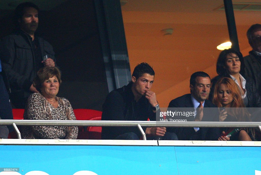 Cristiano Ronaldo of Portugal watches the game from a hospitality box during the FIFA 2010 European World Cup qualifier first leg match between Portugal and Bosnia-Herzegovina at the Luz stadium on November 14, 2009 in Lisbon, Portugal.