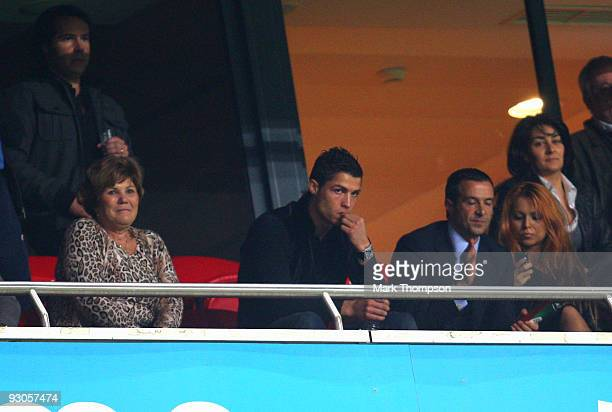 Cristiano Ronaldo of Portugal watches the game from a hospitality box during the FIFA 2010 European World Cup qualifier first leg match between...