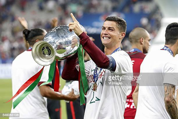 Cristiano Ronaldo of Portugal with Coupe Henri Delaunay during the UEFA EURO 2016 final match between Portugal and France on July 10 2016 at the...