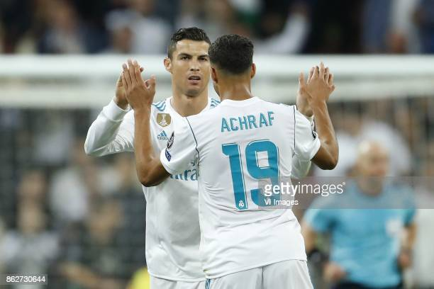 Cristiano Ronaldo of Real Madrid Achraf Hakimi of Real Madrid during the UEFA Champions League group H match between Real Madrid and Tottenham...
