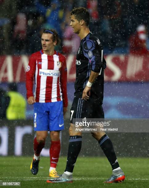 Cristiano Ronaldo of Real Madrid and Antoine Griezmann of Club Atletico de Madrid during the UEFA Champions League Semi Final second leg match...