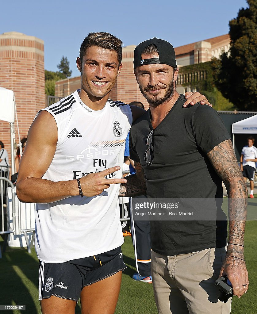 <a gi-track='captionPersonalityLinkClicked' href=/galleries/search?phrase=Cristiano+Ronaldo+-+Soccer+Player&family=editorial&specificpeople=162689 ng-click='$event.stopPropagation()'>Cristiano Ronaldo</a> (L) of Real Madrid and former player <a gi-track='captionPersonalityLinkClicked' href=/galleries/search?phrase=David+Beckham&family=editorial&specificpeople=158480 ng-click='$event.stopPropagation()'>David Beckham</a> pose after a training session at UCLA Campus on July 29, 2013 in Los Angeles, California.