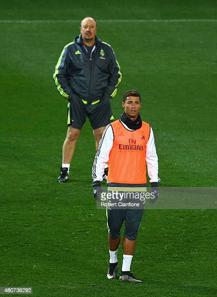 Cristiano Ronaldo of Real Madrid and head coach Rafael Benitez look on during Real Madrid training session at Melbourne Cricket Ground on July 15...