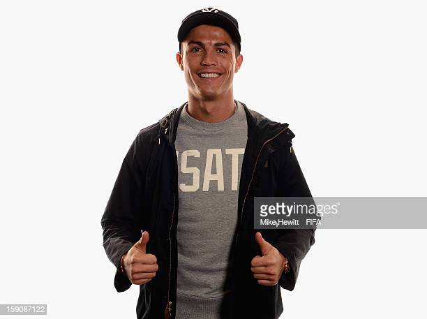 Cristiano Ronaldo of Real Madrid and Portugal poses for a portrait prior to the FIFA Ballon d'Or Gala 2012 at the Kongresshaus on January 7 2013 in...