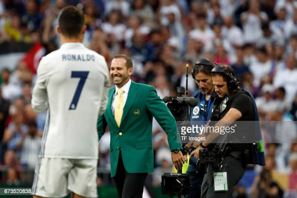 Cristiano Ronaldo of Real Madrid and Sergio Garcia looks on during the La Liga match between Real Madrid CF and FC Barcelona at the Santiago Bernabeu...