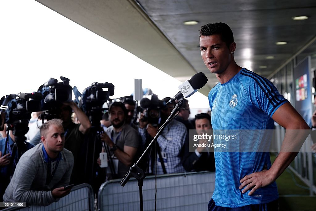Cristiano Ronaldo of Real Madrid answers press members' questions during a press conference ahead of UEFA Champions League final football match between Atletico Madrid and Real Madrid CF in Madrid, Spain on May 24, 2016.