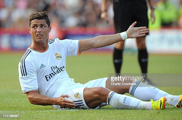 Cristiano Ronaldo of Real Madrid appeals during the pre season friendly match between Bournemouth and Real Madrid at Goldsands Stadium on July 21...