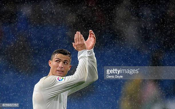 Cristiano Ronaldo of Real Madrid applauds after Real beat Sporting de Gijon 21 in the La Liga match between Real Madrid CF and Real Sporting de Gijon...