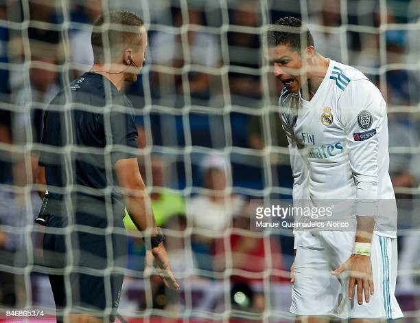 Cristiano Ronaldo of Real Madrid argues with referee Benoit Bastien during the UEFA Champions League group H match between Real Madrid and APOEL...