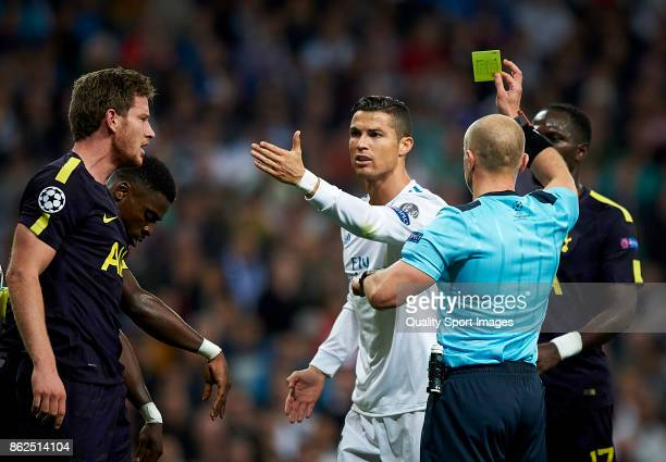 Cristiano Ronaldo of Real Madrid argues with Serge Aurier and Jan Vertonghen of Tottenham Hotspur during the UEFA Champions League group H match...