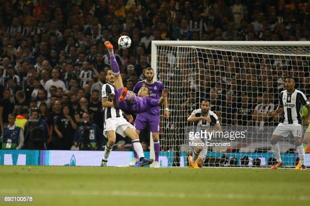 Cristiano Ronaldo of Real Madrid attempts an overhead kick during the UEFA Champions League Final between Juventus and Real Madrid Real Madrid beat...