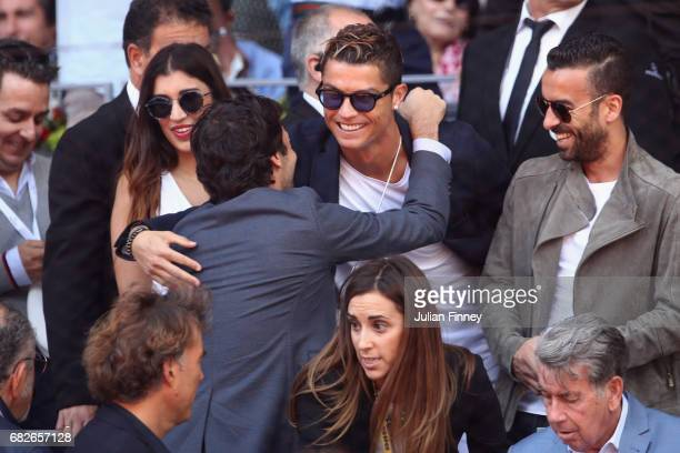 Cristiano Ronaldo of Real Madrid attends the tennis as Rafael Nadal of Spain plays against Novak Djokovic of Serbia in the semi finals during day...