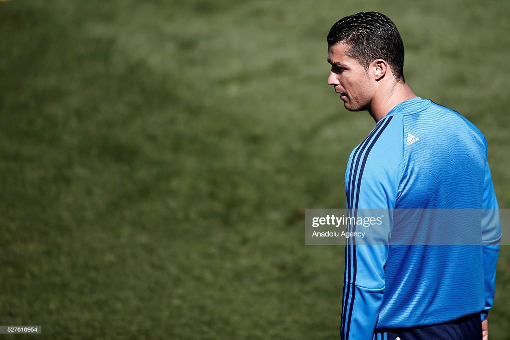Cristiano Ronaldo of Real Madrid attends training session ahead of UEFA Champions League semi-final second leg football match between Real Madrid CF and Manchester City at Valdebebas training ground in Madrid, Spain on May 3, 2016.