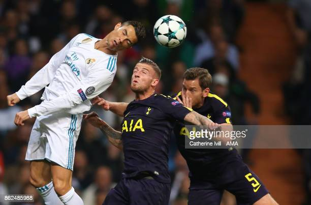 Cristiano Ronaldo of Real Madrid battles with Toby Alderweireld and Jan Vertonghen of Tottenham Hotspur during the UEFA Champions League group H...