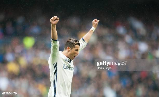 Cristiano Ronaldo of Real Madrid celebrares after Real beat Valencia CF 21 in the La Liga match between Real Madrid CF and Valencia CF at Estadio...
