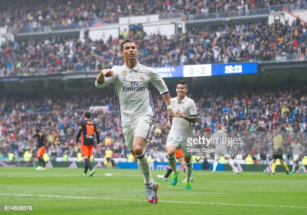 Cristiano Ronaldo of Real Madrid celebrares after scoring Real's opeing goal during the La Liga match between Real Madrid CF and Valencia CF at...