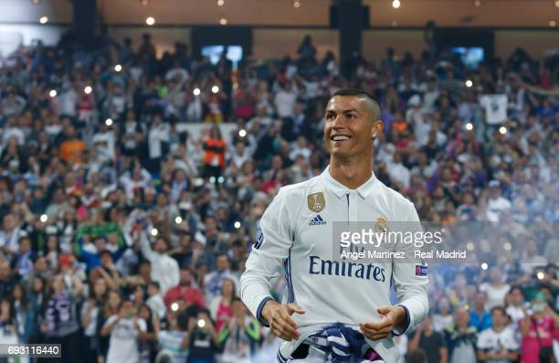 Cristiano Ronaldo of Real Madrid celebrate his UEFA Champions League victory at Estadio Santiago Bernabeu on June 4 2017 in Madrid Spain