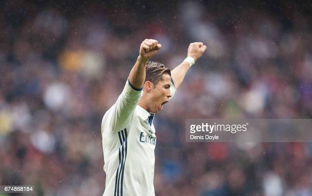 Cristiano Ronaldo of Real Madrid celebrates after Real beat Valencia CF 21 in the La Liga match between Real Madrid CF and Valencia CF at Estadio...