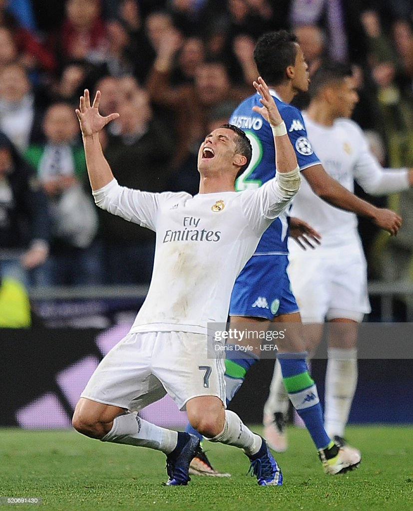 Cristiano Ronaldo of Real Madrid celebrates after Real beat Wolfsburg 3-0 at the end of the UEFA Champions League Quarter Final Second Leg match between Real Madrid and Wolfsburg at Estadio Santiago Bernabeu on April 12, 2016 in Madrid, Spain.