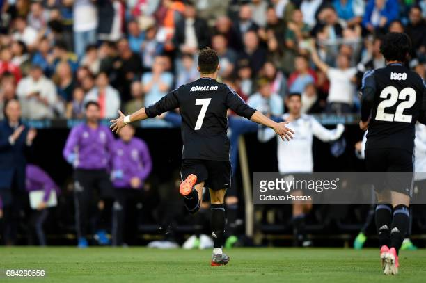 Cristiano Ronaldo of Real Madrid celebrates after scores the first goal against RC Celta during the La Liga match between Celta Vigo and Real Madrid...