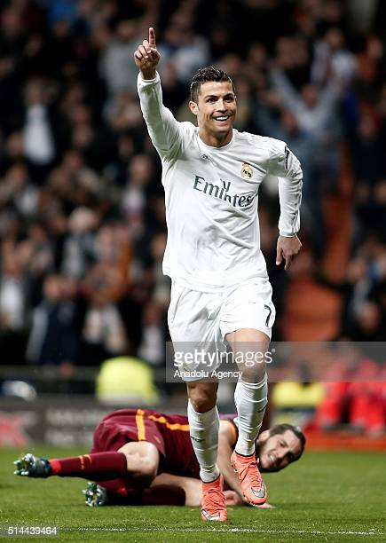Cristiano Ronaldo of Real Madrid celebrates after scoring a goal during the UEFA Champions League Round of 16 Second Leg match between Real Madrid CF...