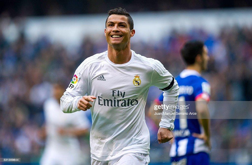 Cristiano Ronaldo of Real Madrid celebrates after scoring a goal during the La Liga match between RC Deportivo La Coruna and Real Madrid CF at Riazor Stadium on May 14, 2016 in La Coruna, Spain.