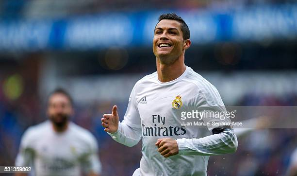 Cristiano Ronaldo of Real Madrid celebrates after scoring a goal during the La Liga match between RC Deportivo La Coruna and Real Madrid CF at Riazor...