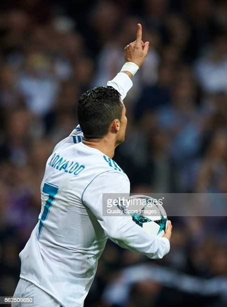 Cristiano Ronaldo of Real Madrid celebrates after scoring a goal during the UEFA Champions League group H match between Real Madrid and Tottenham...