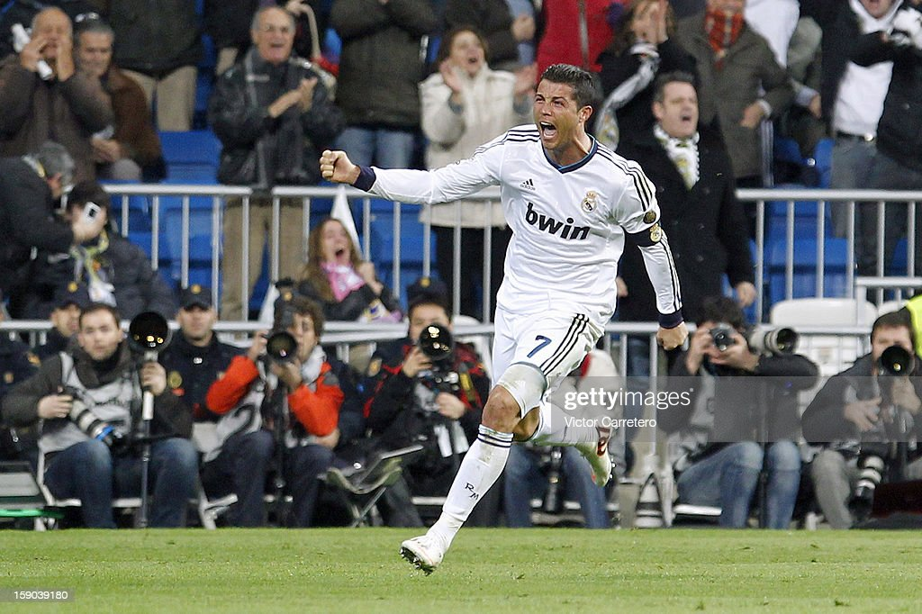 Cristiano Ronaldo of Real Madrid celebrates after scoring during the La Liga match between Real Madrid and Real Sociedad at Estadio Santiago Bernabeu on January 6, 2013 in Madrid, Spain.