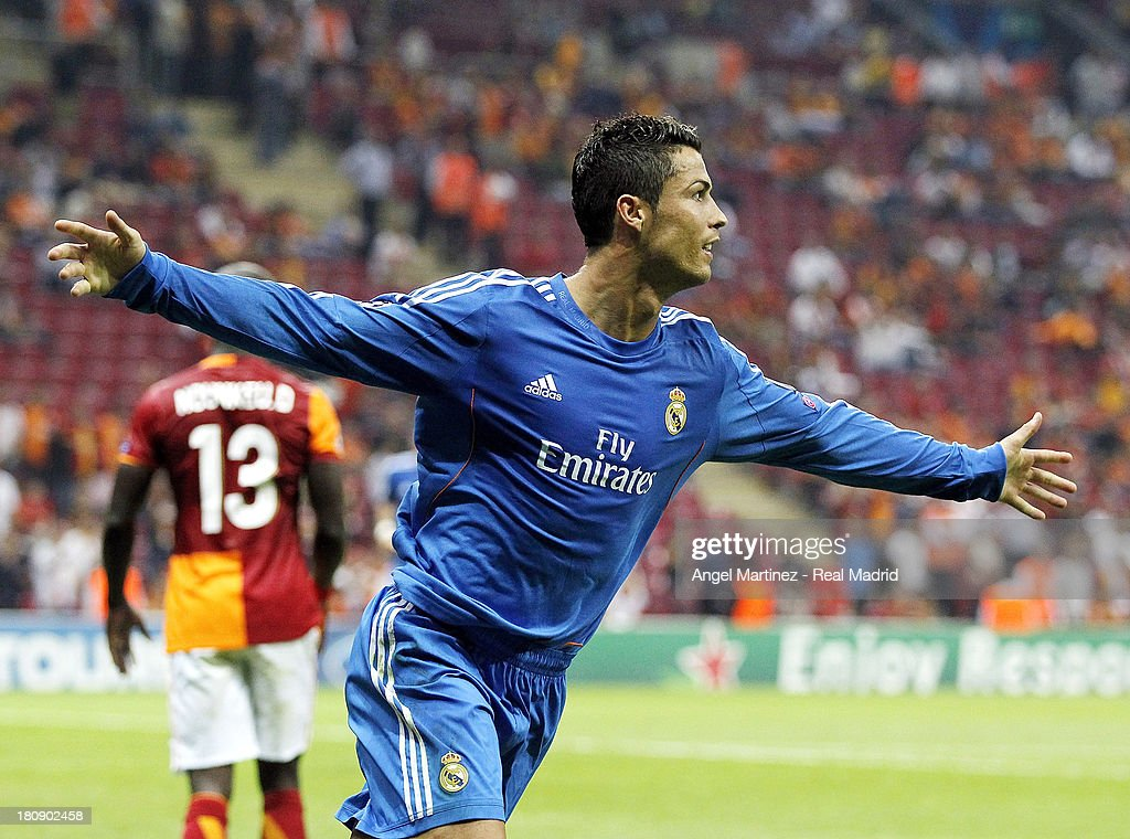 <a gi-track='captionPersonalityLinkClicked' href=/galleries/search?phrase=Cristiano+Ronaldo+-+Soccer+Player&family=editorial&specificpeople=162689 ng-click='$event.stopPropagation()'>Cristiano Ronaldo</a> of Real Madrid celebrates after scoring during the UEFA Champions League group B match between Galatasaray AS and Real Madrid at Ali Sami Yen Arena on September 17, 2013 in Istanbul, Turkey.