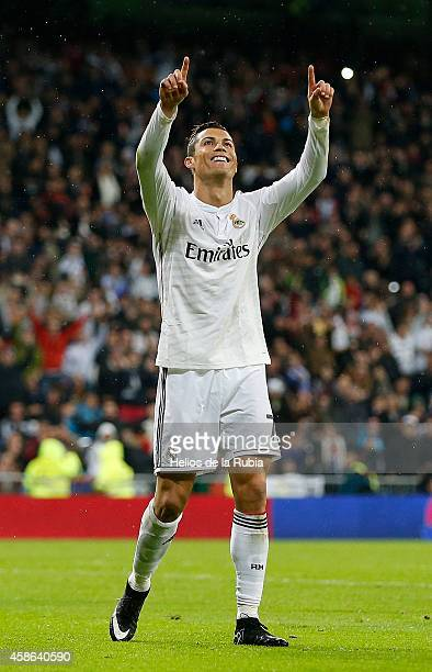 Cristiano Ronaldo of Real Madrid celebrates after scoring during the La Liga match between Real Madrid and Rayo Vallecano at Estadio Santiago...