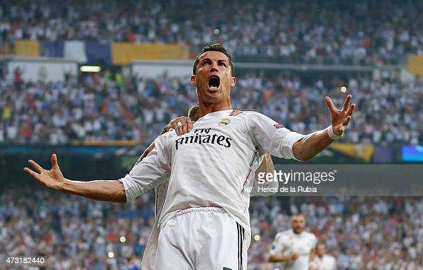 Cristiano Ronaldo of Real Madrid celebrates after scoring during the UEFA Champions League semi final second leg match between Real Madrid CF and...