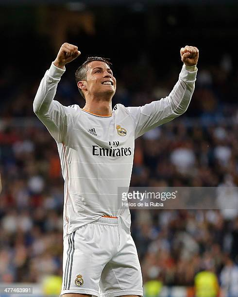 Cristiano Ronaldo of Real Madrid celebrates after scoring during the La Liga match between Real Madrid and Levante UD at Estadio Santiago Bernabeu on...