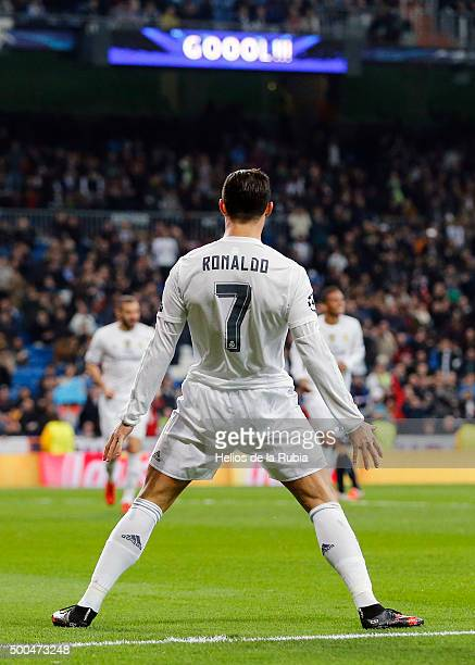 Cristiano Ronaldo of Real Madrid celebrates after scoring during the UEFA Champions League Group A match between Real Madrid and Malmo FF at Estadio...
