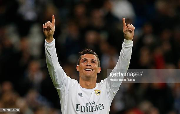 Cristiano Ronaldo of Real Madrid celebrates after scoring during the La Liga match between Real Madrid CF and Real CD Espanyol at Estadio Santiago...