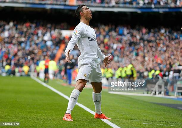 Cristiano Ronaldo of Real Madrid celebrates after scoring during the La Liga match between Real Madrid CF and Celta Vigo at Estadio Santiago Bernabeu...